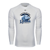 Under Armour White Long Sleeve Tech Tee-Wheaton College Lyons - Lyon Head