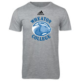 Adidas Sport Grey Logo T Shirt-Wheaton College - Lyon Head
