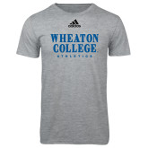 Adidas Sport Grey Logo T Shirt-Wheaton College Athletics