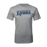 Grey T Shirt-Wheaton College Lyons Wordmark
