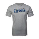 Grey T Shirt-Wheaton College Lyons Wordmark