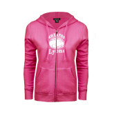 ENZA Ladies Fuchsia Fleece Full Zip Hoodie-Wheaton Lyons - Official Logo