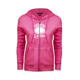 ENZA Ladies Fuchsia Fleece Full Zip Hoodie-Wheaton Lyons - Official Logo