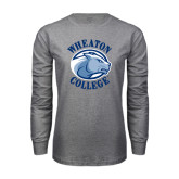 Grey Long Sleeve T Shirt-Wheaton College - Lyon Head