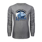 Grey Long Sleeve T Shirt-Wheaton College Lyons - Lyon Head