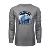 Grey Long Sleeve T Shirt-Wheaton College Lyons - Lyon Head