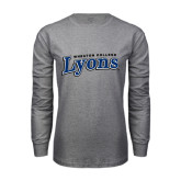 Grey Long Sleeve T Shirt-Wheaton College Lyons Wordmark