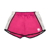 Ladies Fuchsia/White Team Short-Wheaton Lyons - Official Logo