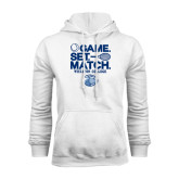 White Fleece Hoodie-Game Set Match - Tennis Design