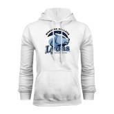 White Fleece Hoodie-Wheaton College Lyons - Lyon Head