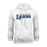 White Fleece Hoodie-Wheaton College Lyons Wordmark