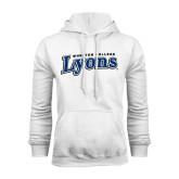 White Fleece Hoodie-Wheaton College Lyons Wordmark