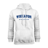 White Fleece Hoodie-Arched Wheaton College Athletics