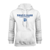 White Fleece Hoodie-Lacrosse w/ Lyon Head