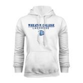 White Fleece Hoodie-Lacrosse w/ Lyon Head