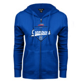 ENZA Ladies Royal Fleece Full Zip Hoodie-2016 NEWMAC Champions Baseball