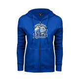 ENZA Ladies Royal Fleece Full Zip Hoodie-Wheaton College Lyons - Lyon Head