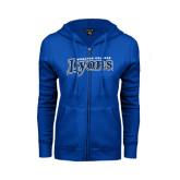 ENZA Ladies Royal Fleece Full Zip Hoodie-Wheaton College Lyons Wordmark