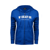 ENZA Ladies Royal Fleece Full Zip Hoodie-Arched Wheaton College Athletics