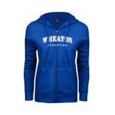 ENZA Ladies Royal Fleece Full Zip Hoodie-Arched Wheaton College Athletics