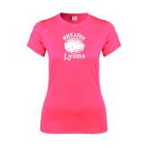 Ladies Performance Hot Pink Tee-Wheaton Lyons - Official Logo