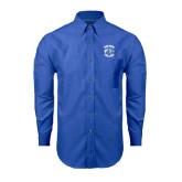 Mens Royal Oxford Long Sleeve Shirt-Wheaton College - Lyon Head