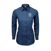 Ladies Deep Blue Tonal Pattern Long Sleeve Shirt-Wheaton College - Lyon Head