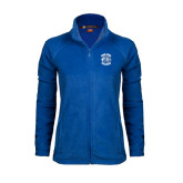 Ladies Fleece Full Zip Royal Jacket-Wheaton College - Lyon Head