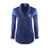 Ladies Red House Deep Blue Herringbone Non Iron Long Sleeve Shirt-Wheaton College - Lyon Head