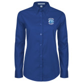 Ladies Royal Twill Button Down Long Sleeve-Wheaton College - Lyon Head