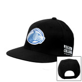 College Black Flat Bill Snapback Hat-Lyon Head
