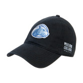 College Black Twill Unstructured Low Profile Hat-Lyon Head