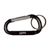 Black Carabiner with Split Ring-Wheaton College Lyons Wordmark Engraved