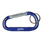Blue Carabiner with Split Ring-Wheaton College Lyons Wordmark Engraved