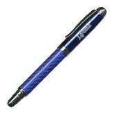 Carbon Fiber Blue Rollerball Pen-Wheaton College Lyons Wordmark Engraved