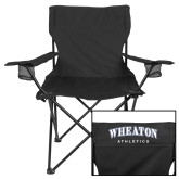 Deluxe Black Captains Chair-Wheaton College Lyons Wordmark