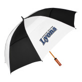 62 Inch Black/White Umbrella-Wheaton College Lyons Wordmark