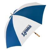 62 Inch Royal/White Umbrella-Wheaton College Lyons Wordmark