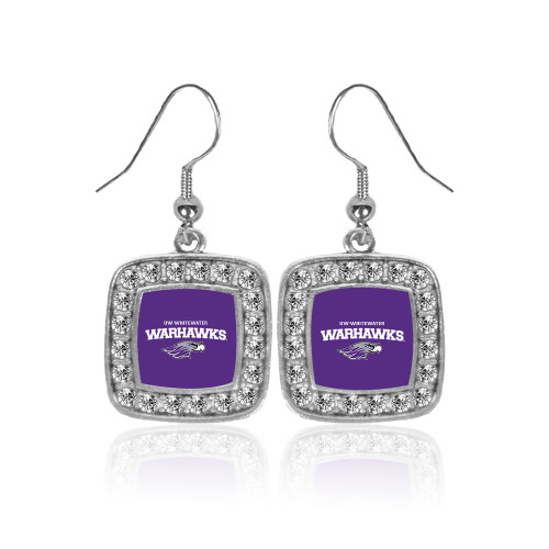 Wisconsin Whitewater Warhawks LUXURY EDITION 925 Sterling Silver College Team Color Double Crystal Gem Earrings