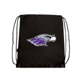 Black Drawstring Backpack-Warhawk Head