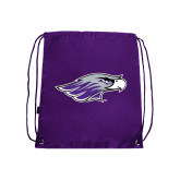 Purple Drawstring Backpack-Warhawk Head