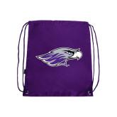 Purple Drawstring Backpack-Warhawk Head