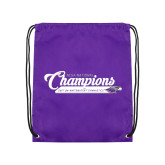 Purple Drawstring Backpack-2017 NCGA National Champions Gymnastics
