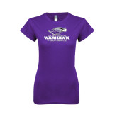 Next Level Ladies SoftStyle Junior Fitted Purple Tee-Football