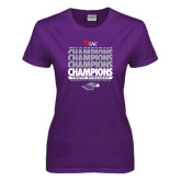 Ladies Purple T Shirt-Tenth Straight WIAC Champions - Womens Tennis 2016