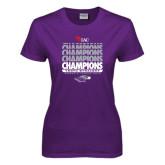 Ladies Purple T Shirt-Tenth Straight WIAC Champions - Womens Tennis 2016