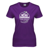 Ladies Purple T Shirt-Third Straight NCAA Tournament Appearance - Mens Soccer 2016