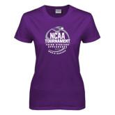 Ladies Purple T Shirt-Third Straight NCAA Tournament Appearance - Mens Soccer 2016
