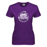 Ladies Purple T Shirt-25th Straight NCAA Tournament Appearance - Womens Volleyball 2016