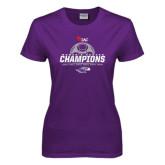 Ladies Purple T Shirt-WIAC Womens Soccer Champions - Six in Seven Years